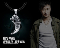 Hot Phi Retro Thai Silver 925 Sterling Silver Necklace Big Spear Pendant Tiger Teeth Pendant Mens