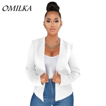 OMILKA 2018 Summer Autumn Women Long Sleeve Cardigan Short Blazer Elegant White Black Rose Office Lady Work Bomber Jacket Blazer