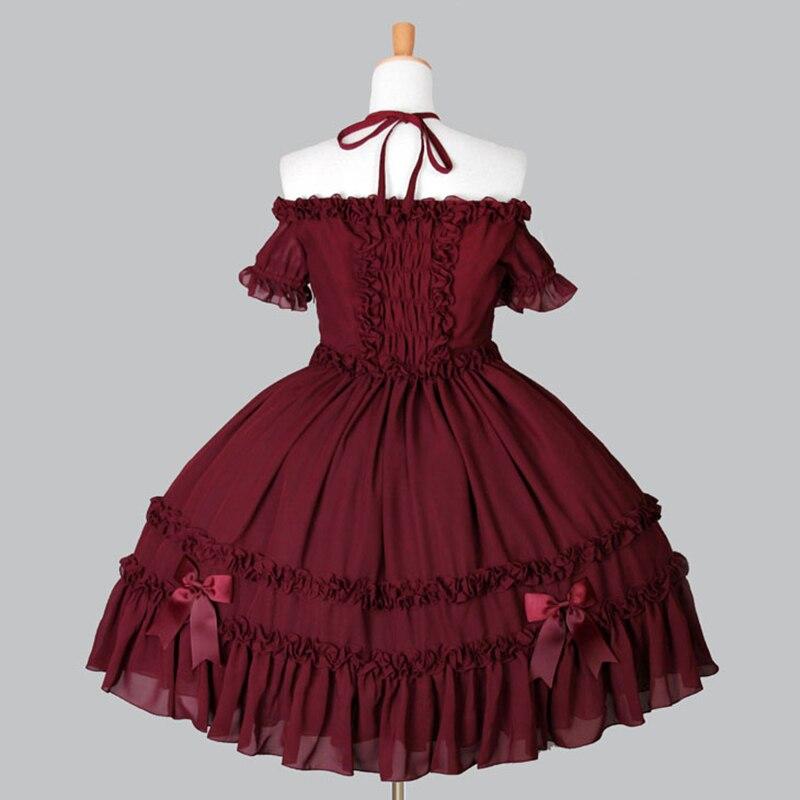 Haute qualité 2018 rouge et noir Slash cou arc gothique Lolita robe Costumes pour femmes personnalisé - 2