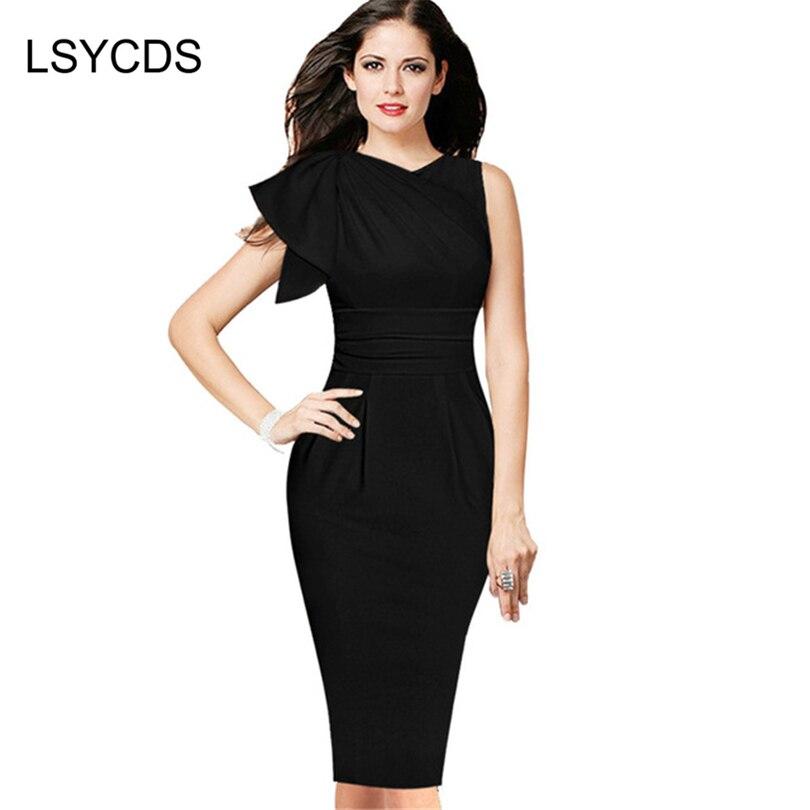 652165a62857f Kadın Yaz Tarzı Elbise Siyah Zarif Pilili giymek Iş Parti Kılıf Bodycon  Elbise