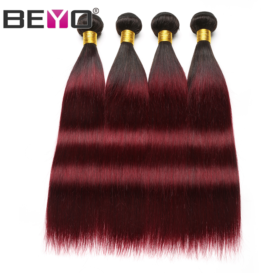 Beyo Ombre Straight Brazilian Hair Weave Bundles 1B Burgundy Human Hair Bundles 3 4 Bundle Deals