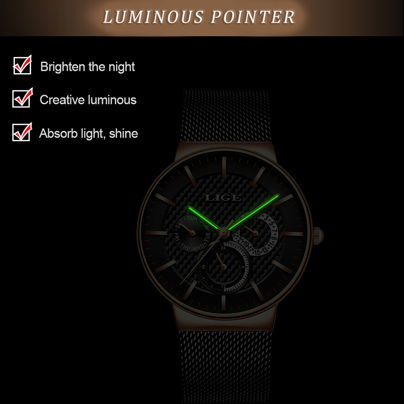 Image 4 - LIGE New Women Fashion Watch Creative Lady Casual Watches Stainless Steel Mesh Band Stylish Desgin Luxury Quartz Watch for WomenWomens Watches   -