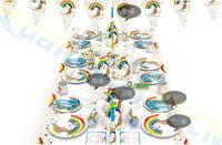10 компл. Единорог одноразовые бумажные шляпы посуда скатерть орнамент соломинки набор фестиваля рождения вечерние украшения домашний бар ...