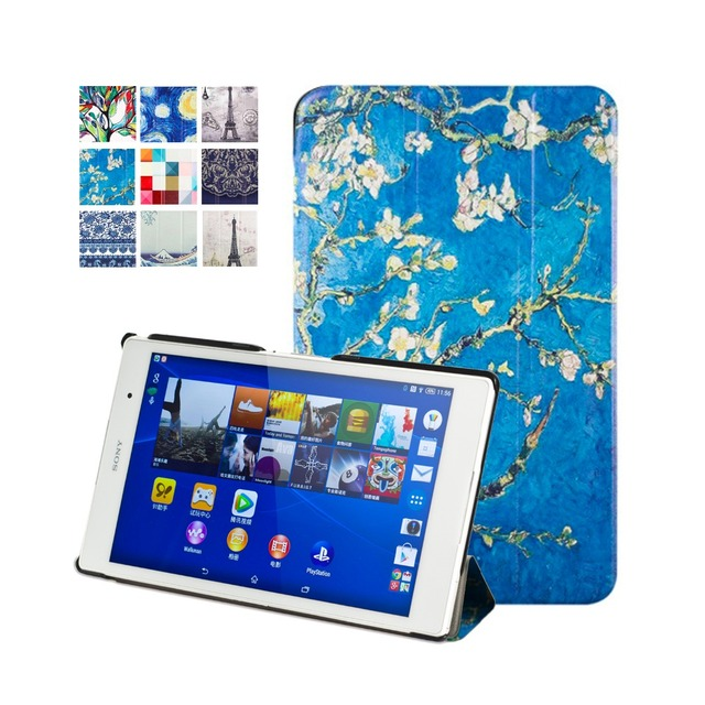 "New 2014 Cover protective PU leather case for Sony xperia Z3 8"" Tablet Compact +stylus pen  free shipping"
