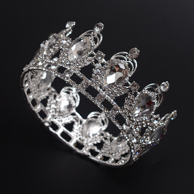 تيجان ملكية  امبراطورية فاخرة Women-royal-HUGE-Full-Round-crown-crystal-rhinestone-Bridal-wedding-tiaras-queen-style-party-Hair-jewelry