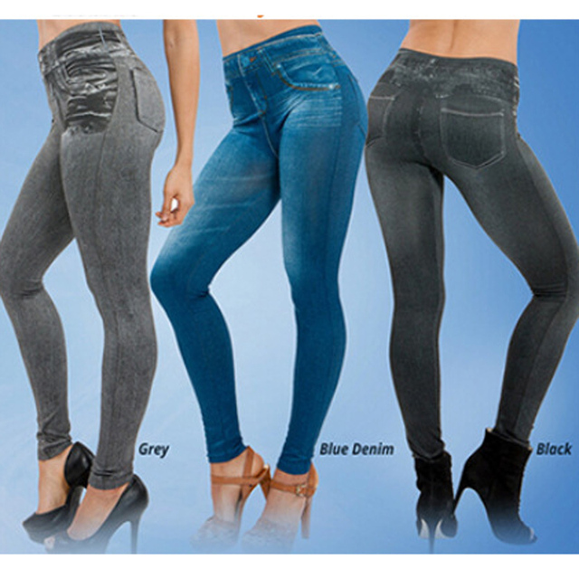 bebad5deefe New Hot Sale True Pocke Simulation of Jeans Leggings Genie Slim Jeggings  Women Leggings Fashion Novelty Casual leggings
