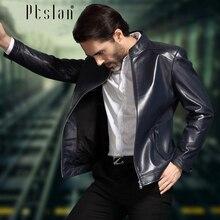 Ptslan 2016 Men's Genuine Leather Jacket Real Lambskin Coat