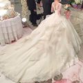 Роскошные Berydress Свадебное Платье с Царский Поезд Scoop Шеи Casamento Бальное платье Принцессы Свадебное Платье Кружева 2017 Длинные Рукава