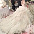 Berydress do vestido de casamento de luxo com trem real vestido de casamento do pescoço da colher vestido de baile princesa do vestido de casamento lace 2017 mangas compridas