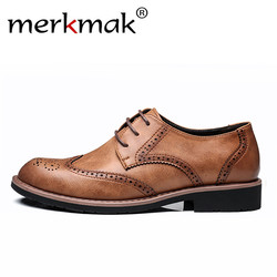 Merkmak 2018 Genuine Leather Men Dress Shoes Formal Wedding Party Shoes For Men Retro Brogue Shoes Luxury Brand Men's Oxfords