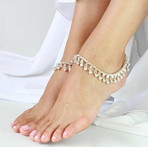 DreamBell Women Silver Color Jewelry Style Indian Traditional Belly Dance Anklet with Jingling Bells-Toned Pendant Anklets