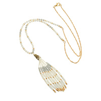 OSHUER High Quality 3 Colors Handmade Crystal Beads Long Necklace With Tassel Vintage Jewelry Chain