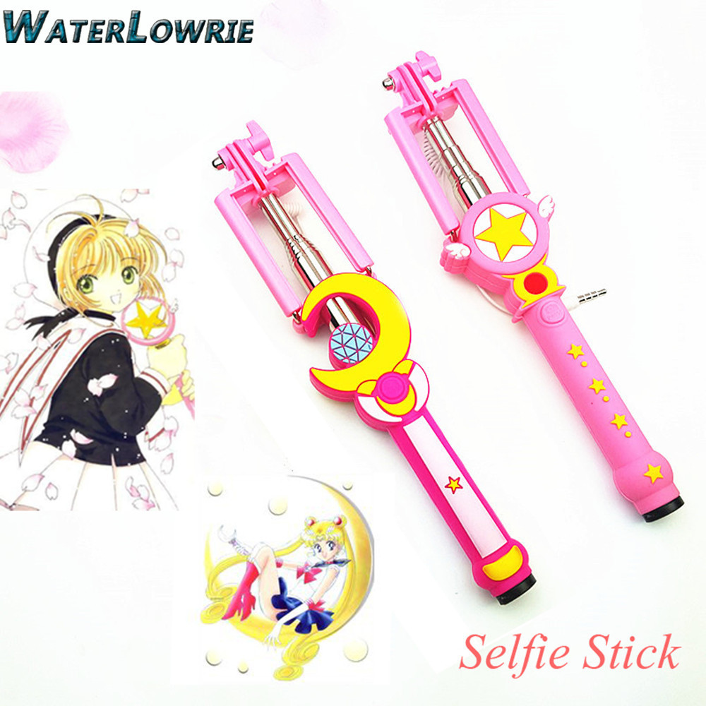 Waterlowrie ailor Moon Selfie Stick font b Monopod b font Cute Cartoon SAKURA Handheld Extendable Selfie