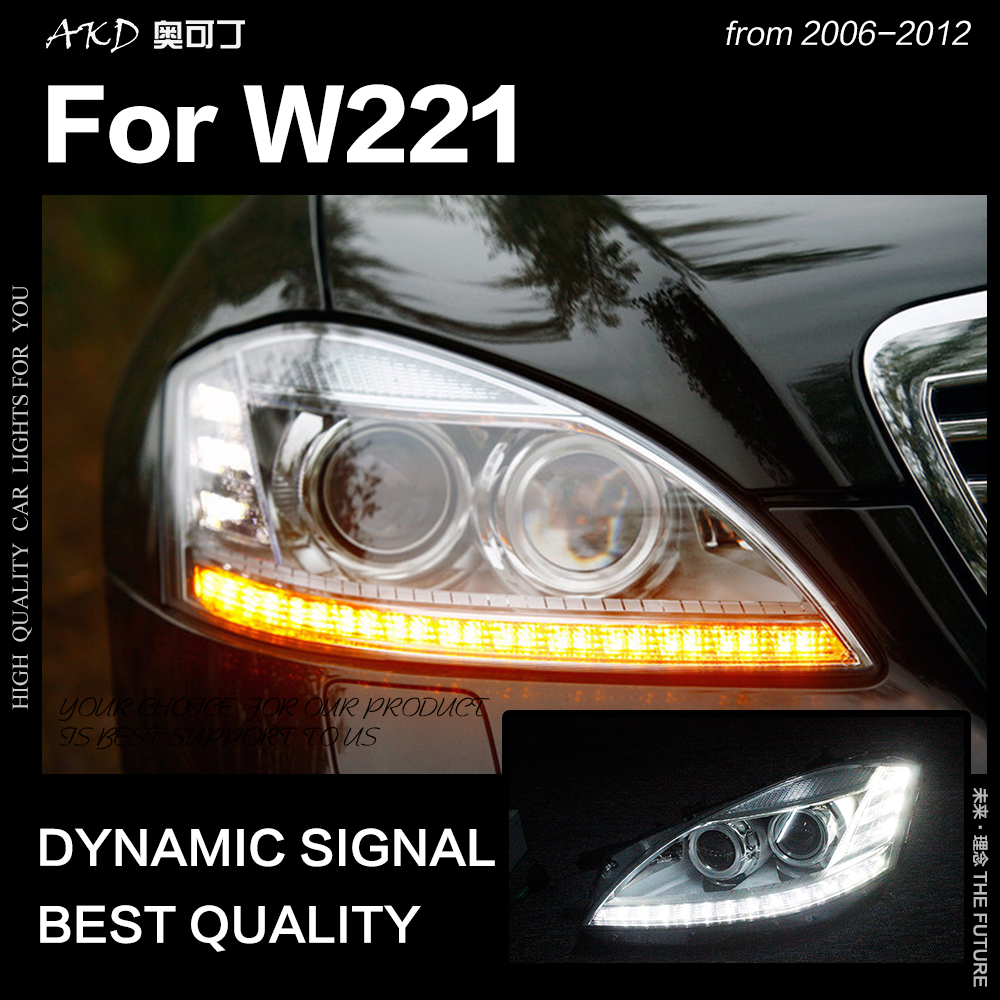 AKD Car Styling Head Lamp for W221 Headlights 2006 2012 S300 S400 Headlight LED DRL Signal