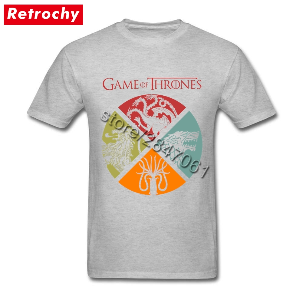 Vintage Game of Thrones T Shirts for High Tall Men 1980's T-Shirt Low Price Movie Tee Brand Clothing Oversized Boyfriend - intl