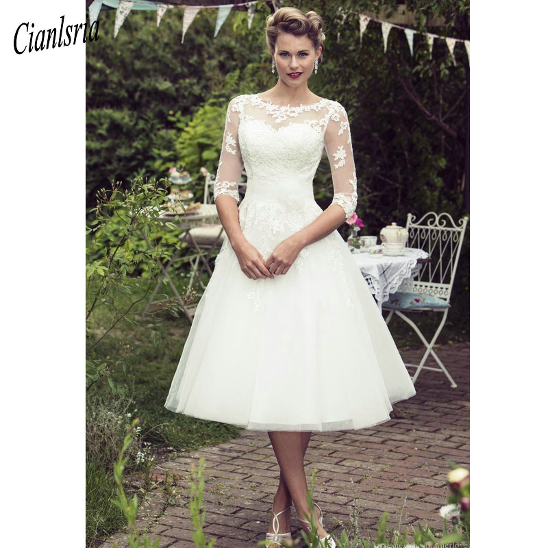 Vintage 50's Style Short Lace Wedding Dresses Half Sleeves