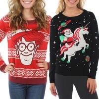 נשים סוודרי סוודרים חורף חם חג המולד Snowflake סרוגים סוודר חולצות גודל S-XL