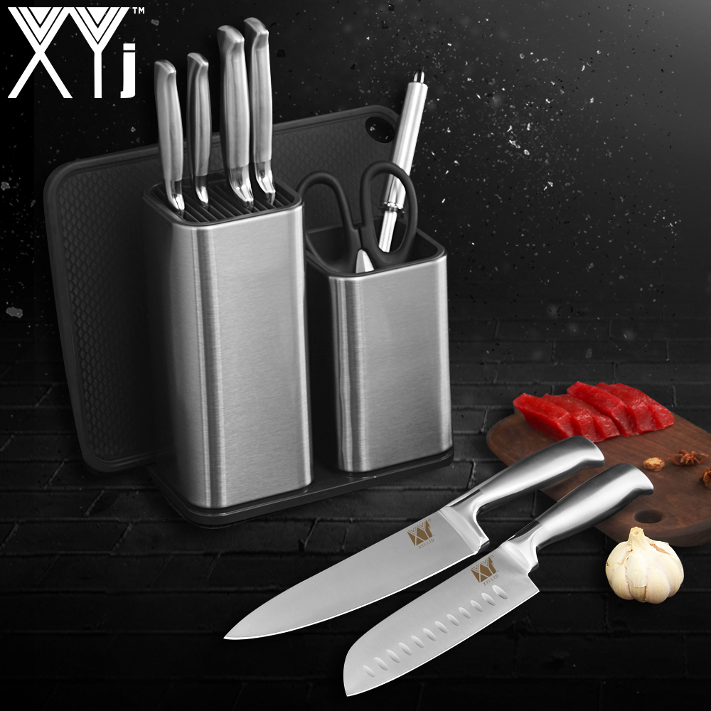 XYj Professional Chef Knife Stand Stainless Steel Kitchen Knive Holder Block Double Shelf Big Capacity Chopping Board Tools Gift