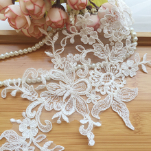 2Pcs Lace Applique White Ivory Lace Collar Beautiful Flower Venise Laces Appliques Trim Sewing Supplies Lace Fabric Accessories 10pcs colorful lace applique wedding headband hair accessories venise lace beautiful flower floral motif appliques necklace
