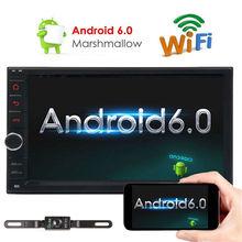 7-дюймовый Android 6.0 двойной 2 DIN в тире автомобиля без DVD Радио стерео проигрыватель Тюнинг автомобилей Поддержка Wi-Fi 3G 4 г GPS nav + Бесплатный Резервное копирование камеры
