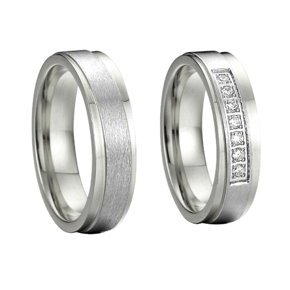custom his and hers silver color titanium steel engagement wedding bands forever love promise rings sets alliances anel anel de prata his and hers rings white gold plating pure titanium engagement wedding bands rings 2014