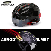 Queshark Cycling Helmet Road Mountain Bike Helmet Ultralight Integrated Bicycle Helmet With Glasses for Men Women