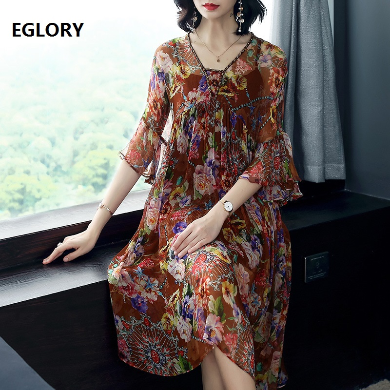 Здесь продается  100%Silk Dress Summer Casual Vestido Woman V-Neck Vintage National Style Print Beading Lux Party Plus Size Dress Vestido Fiesta   Одежда и аксессуары