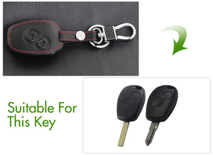 Image 2 - Black Leather Cover For Nissan Almera Renault Clio Dacia Logan Megane Espace Kangoo Duster Twingo 2BTN Car Remote Key Case