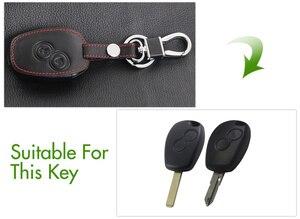 Image 2 - Czarna skórzana okładka dla nissana Almera Renault Clio Dacia Logan Megane Espace Kangoo Duster Twingo 2BTN obudowa kluczyka do samochodu z pilotem