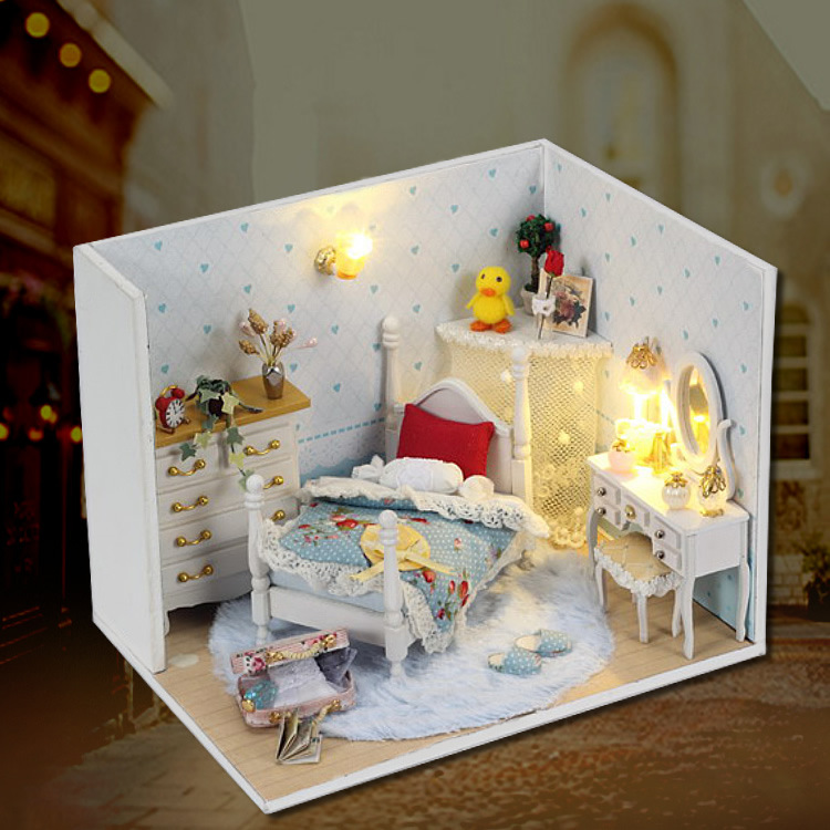 Handmade Wooden Doll House Toys With Furnitures Assembling DIY Miniature Model Kit Children Adult Beauty Gift