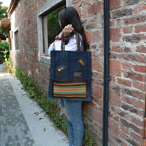 YUBIRD Classic Black Canvas Tote Bags for Women Shoulder Bag Handbag Big Female Handmade Woven Geometric Print bolso negro muje