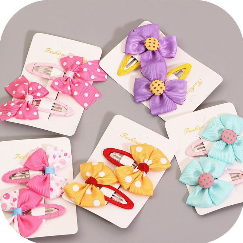 LOEEL 1 Pair Cartoon Butterfly Baby Girl Hair Clip Candy Color Dot Bowknot Hairpin Toddler Kid Children Hair Accessories