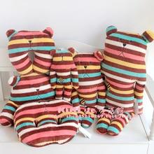 CRAFTHOLIC chocolate Striped colorful bear L size 80cm plush doll pillow cushion cute love free shipping