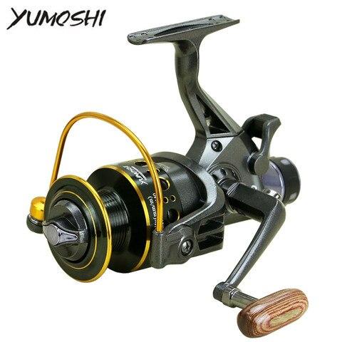 yumoshi mg30 60 mg carretel de pesca duplo freio molinete carpa isca moldado molinete frente