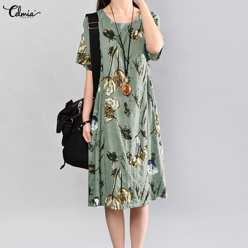 Celmia 2018 Summer Dress Women Vintage Floral Linen Dress Ladies Short Sleeve Casual Vestido Female Midi Dresses Plus Size 5XL
