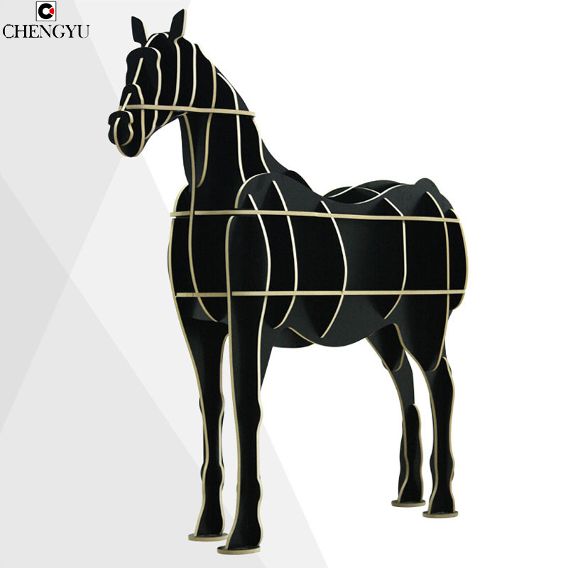 Modern Creative Solid Wood Bookshelf Creative Shelves Nordic Style Assembly Wooden Furniture Decorative Bookshelves 122*50*130cm horse display bookshelf wooden furniture