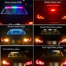 Multifunction Flowing RGB LED Third Brake Light Rear Tail High Mount Stop Signal Safety led Warning additional brake light 12V