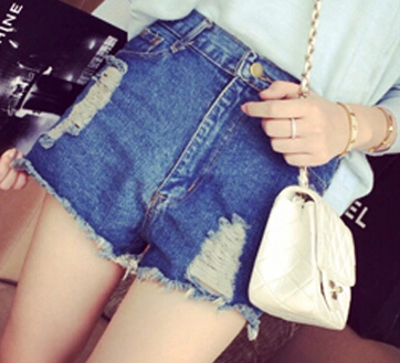 Summer new arrival fashion classic all-match retro hole finishing flash water wash high waist denim jeans shorts women female