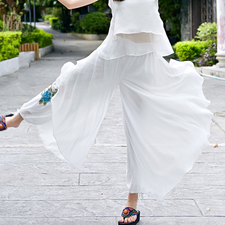 Summer New 2017 Women Loose Embroidered Long Trousers Chiffon Chinese Style   Wide     Leg     Pants