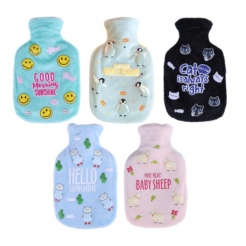 Winter Cute Water Bottle Bag Cartoon Kawaii Water-Injection Fleece Portable Hand Warming Water Bottles Baby Kids Warmer 310ml portable cartoon animals kitten tail design student glass water bottle
