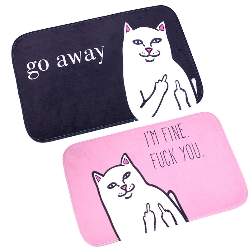 40*60CM Funny Words Go Away 1 PC Door Mats Coral Velvet Carpet Non-slip Entrance Indoor Floor Mat Cat With Middle Finger Pattern