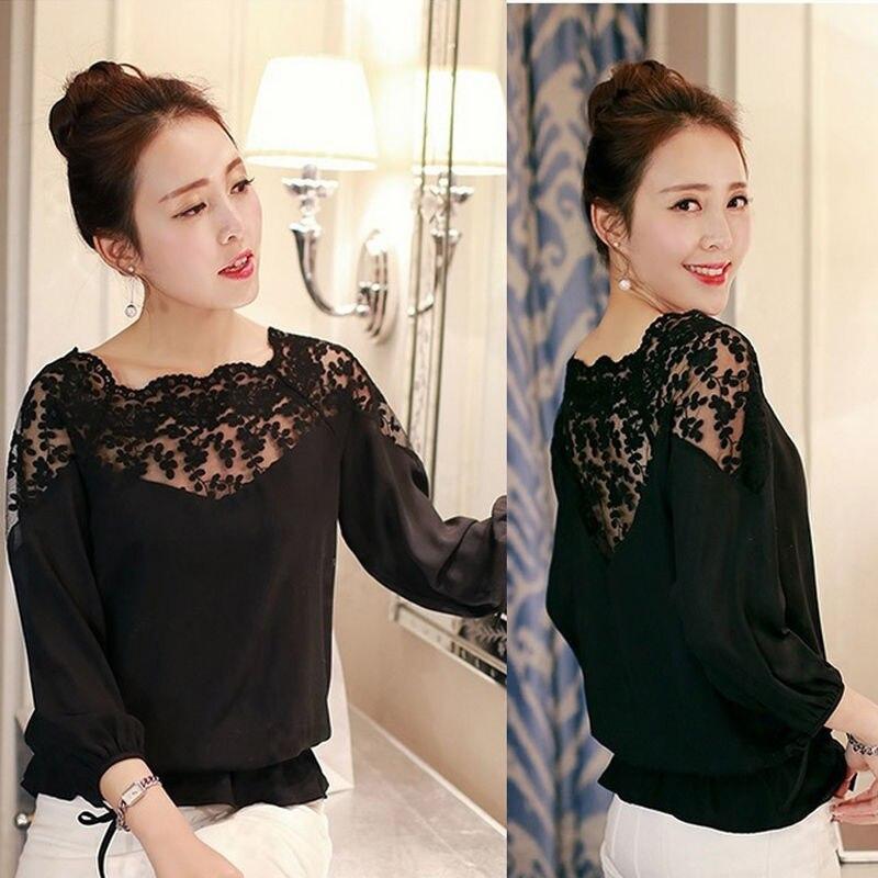5b77c184512d3 Mujeres Blusas moda suelta blusa Ladies Encaje superior Camisas camisa  casual para las mujeres negro blanco blusas de verao en Blusas y camisas de  La ropa ...