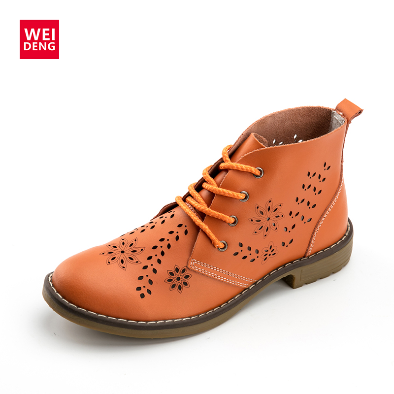 WeiDeng Genuine Leather Brogue Ankle Motorcycle Boots Lace up Women Winter Fashion Retro Flat Classic font