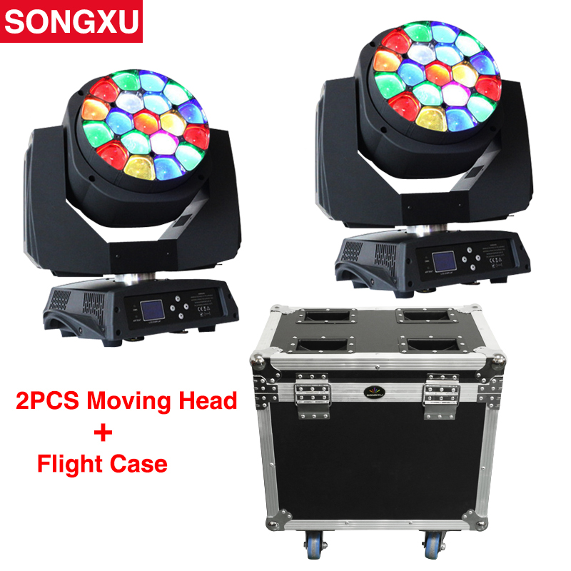 Flight Case 2in1 19x15W RGBW 4in1 Bees Eyes Big Eyes Moving Head Light with Zoom Rotating