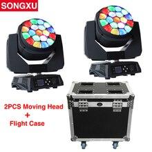 Flight Case 2in1 19x15 w RGBW 4in1 Bijen Ogen Grote Ogen Moving Head Licht met Zoom Roterende Mac aura Stage Licht/SX MH1915