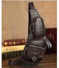 Hommes Vintage en cuir véritable voyage équitation moto messager épaule Sling Pack poitrine sac Casual