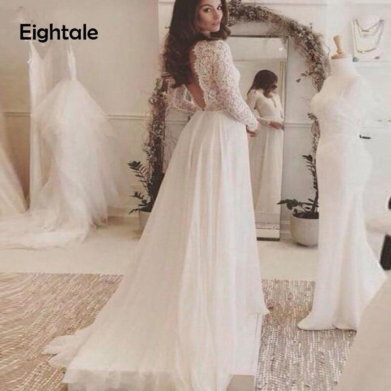 Robe de mariée en mousseline de soie blanche dos nu Boho 2019 col en v profond manches longues plage robes de mariée robe de mariee