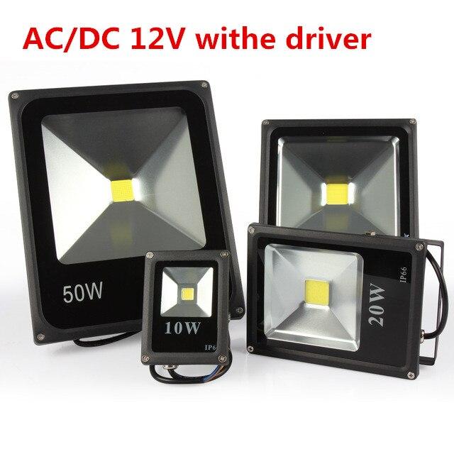 Refletor LED flood light 10W 20W 30W 50W Black DC12V waterproof IP65 Floodlight Spotlight Outdoor Lighting Exterieu