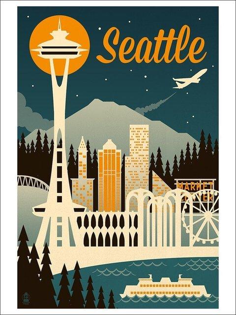 Custom seattle washington retro skyline art print 30x20 inch wall decor poster amazing supply