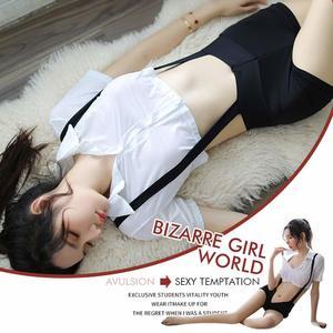 Image 2 - สตรี Naughty คอสเพลย์ชุดชั้นในเซ็กซี่ชุด Suspenders กางเกงขาสั้นหมอนรองกระดูกเสื้อสีขาวชุด